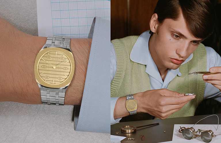 GUCCI「25H」系列腕錶,38mm,不鏽鋼鍍18K金錶殼,石英機芯╱63,000元。(圖╱GUCCI提供)
