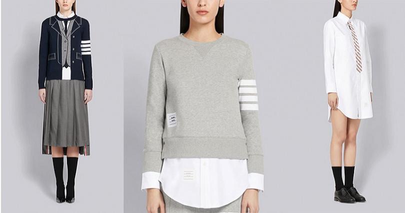 (從左至右)TROMPE L'OEIL正裝毛衣NT39,980,經典休閒運動衫NT33,980,TROMPE L'OEIL領帶襯衫洋裝NT28,980。(圖/品牌提供)