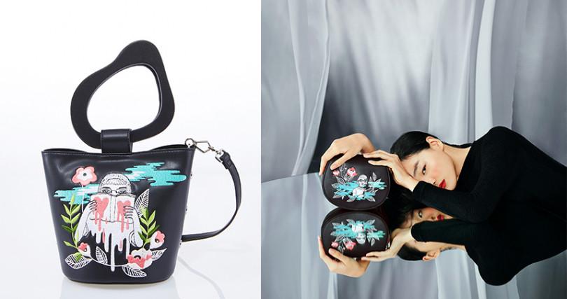 刺繡水桶包NT2390,刺繡馬鞍包NT2290,刺繡零錢包NT690(圖/品牌提供)