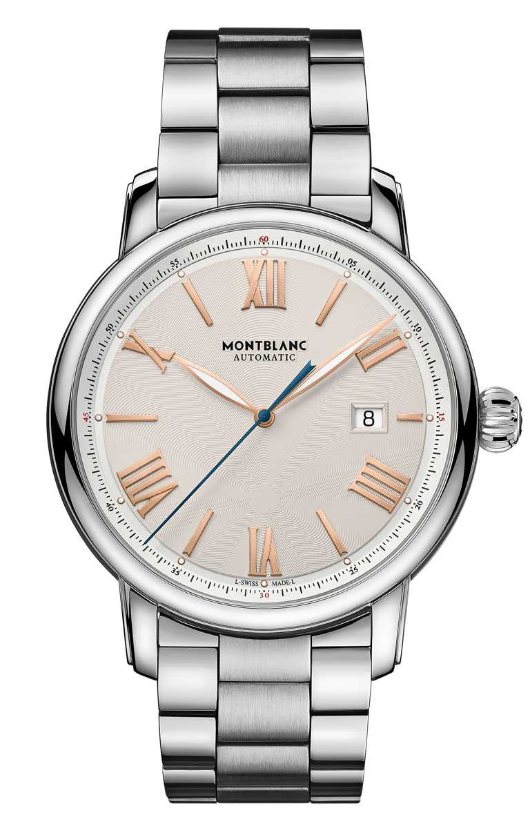 MONT BLANC「Star Legacy明星傳承」系列,日期顯示自動腕錶,象牙色面盤╱112,400元。(圖╱MONT BLANC提供)