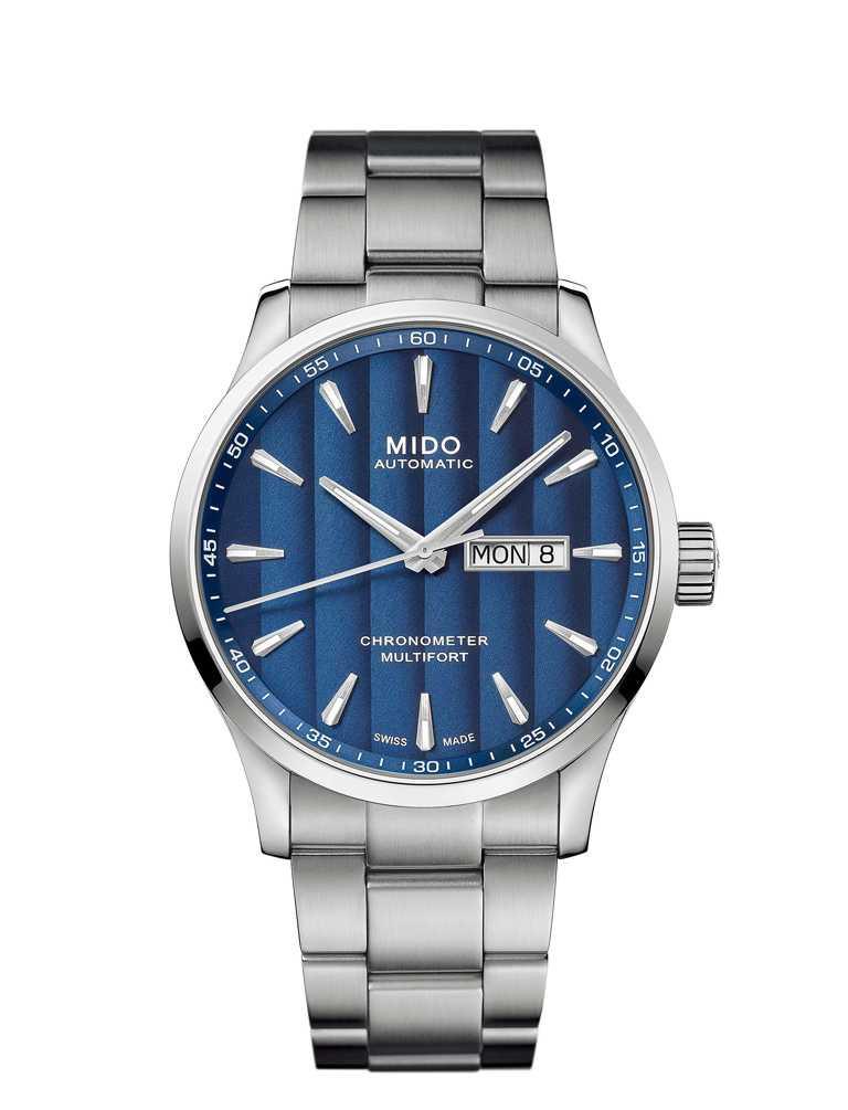 MIDO「Multifort Chronometer先鋒」系列,天文台認證矽游絲腕錶,不鏽鋼錶殼╱40,400元。(圖╱MIDO提供)