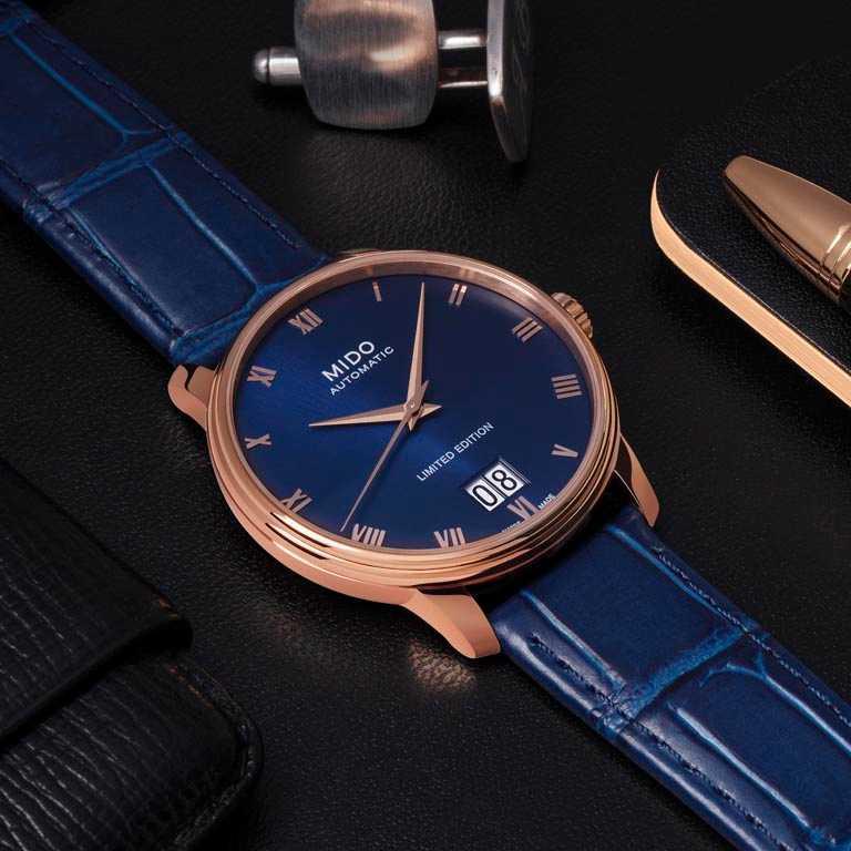 MIDO「Baroncelli Big Date永恆」系列,大日期窗腕錶,PVD玫瑰金不鏽鋼錶殼,限量2,020只╱35,500元。(圖╱MIDO提供)