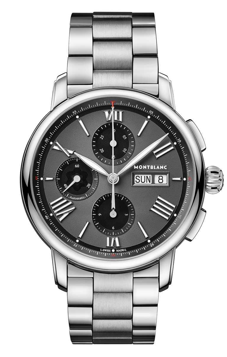 MONT BLANC「Star Legacy明星傳承」系列,星期日期顯示計時腕錶,炭黑色面盤╱160,800元。(圖╱MONT BLANC提供)