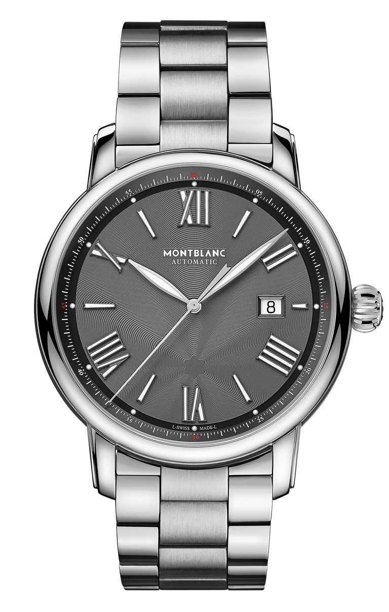MONT BLANC「Star Legacy明星傳承」系列,日期顯示自動腕錶,炭黑色面盤╱112,400元。(圖╱MONT BLANC提供)