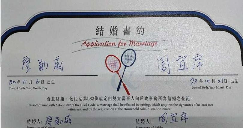 阿廖師用心製作專屬兩人的羽球主題結婚書約。(圖/傳軒媒體)