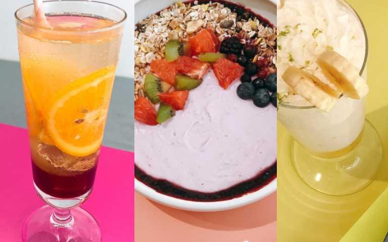 三款聯名飲品、優格盤,左起:紅橙汁汁氣泡飲、鮮柚優格果盤、檸檬尬香蕉奶昔(圖/黃筱婷攝影)