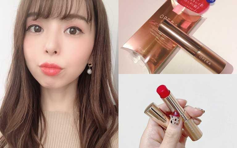OPERA渲漾水色唇膏#105/380元加入了微冷調的桃紅色來調和紅感,對喜歡嘗試紅色唇彩的人來說會更好上手。(圖/IG@f_chiaki_inst、IG@red______56019ka、IG@mery.beauty)