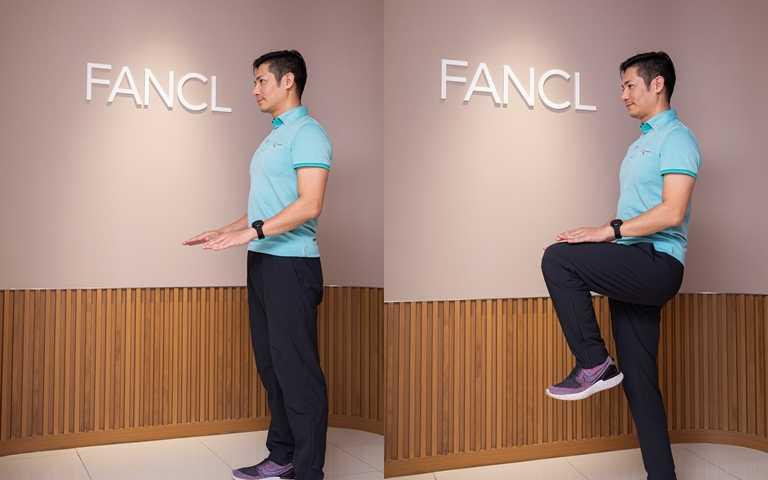 原地提膝的連續動作示範。(圖/品牌提供)