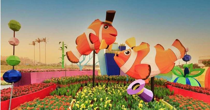 討喜的小丑魚也是展區主題裝飾之一。(圖/取自桃園彩色海芋季官方臉書)
