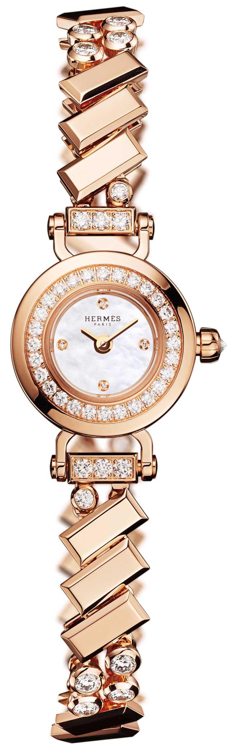 HERMÈS「Faubourg Polka」腕錶,玫瑰金錶殼,15.5mm,鑽石53顆╱價格未定。(圖╱HERMÈS提供)