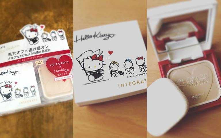 INTEGRATE柔焦輕透美肌粉餅n*Hello Kitty聯名限定組 10g/410元(圖/IG@aminmin18)