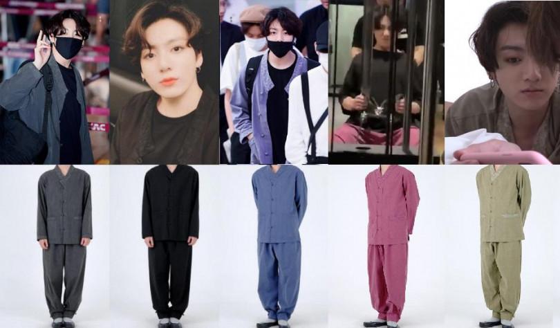 成員柾國的韓服時尚令粉絲哭笑不得,要穿同款還真有難度。(圖/推特@_nojam_nolife提供)