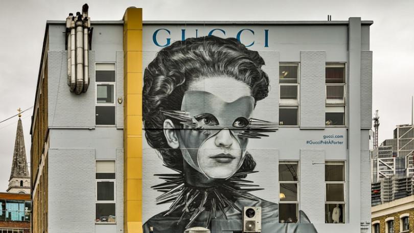 位於東倫敦紅磚巷(Brick Lane)的GUCCI 藝術牆。(圖/品牌提供)