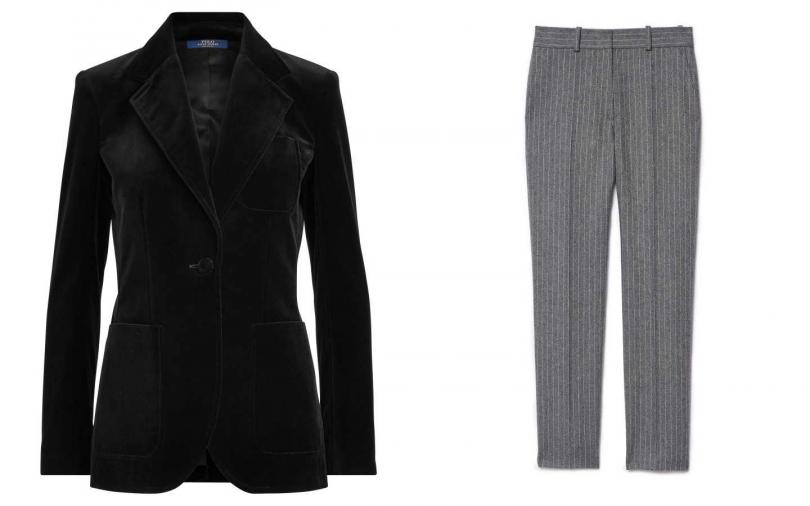 Polo Ralph Lauren 節慶系列絲絨西裝外套/29,880 元 ; Sandro條紋西裝褲/9,050元。(圖/翻攝自網路)