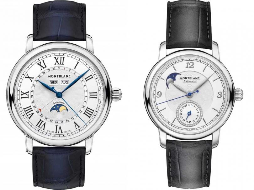 (左)MONTBLANC「明星傳承系列」全日曆腕錶╱148,500元;(右)MONTBLANC「明星傳承系列」月相腕錶╱127,500元(圖片提供╱MONTBLANC)