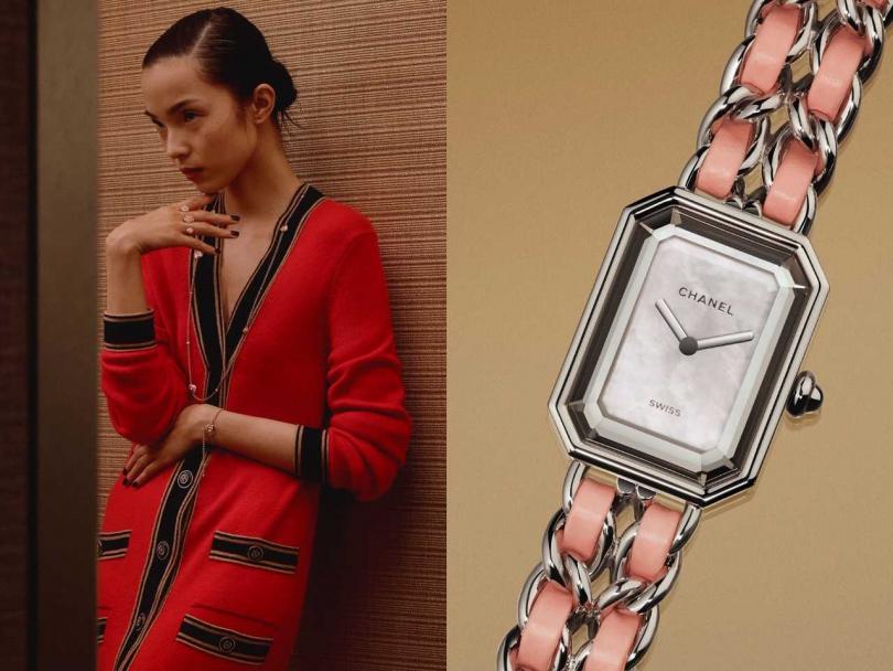 CHANEL「Première Rock」系列粉紅腕錶,限量1,200只╱153,000元(圖片提供╱CHANEL)