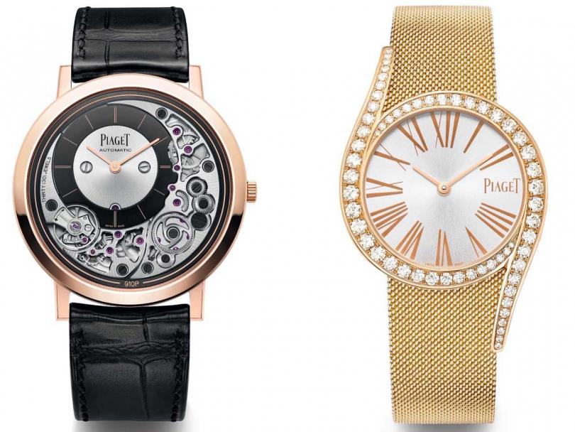 (左)PIAGET「Altiplano系列」Ultimate 910P超薄自動上鏈腕錶╱930,000元;(右)PIAGET「Limelight Gala系列」18K玫瑰金米蘭網織鍊帶鑽石腕錶╱1,240,000元(圖片提供╱PIAGET)