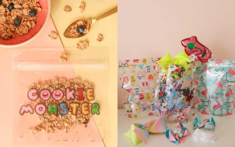 Cookie Monster魔鬼氈抗菌環保袋 10袋/包 NT349、夏日派對抗菌萬用立體袋系列 9袋/筒 NT449(圖/Play Bag)