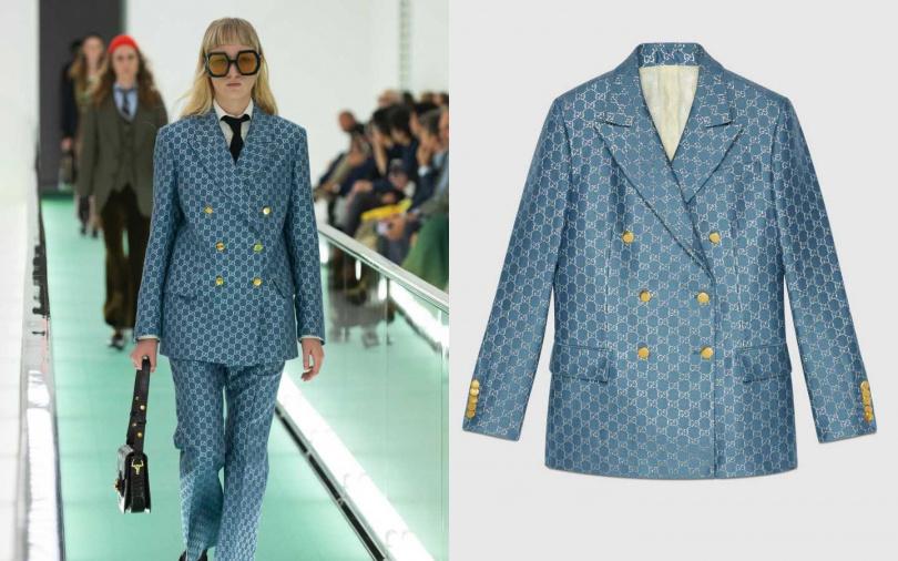 以顏色與素材簡單強調出奢華風格。GUCCI Light GG Lamé Jacket 外套/134,000元(圖/品牌提供)