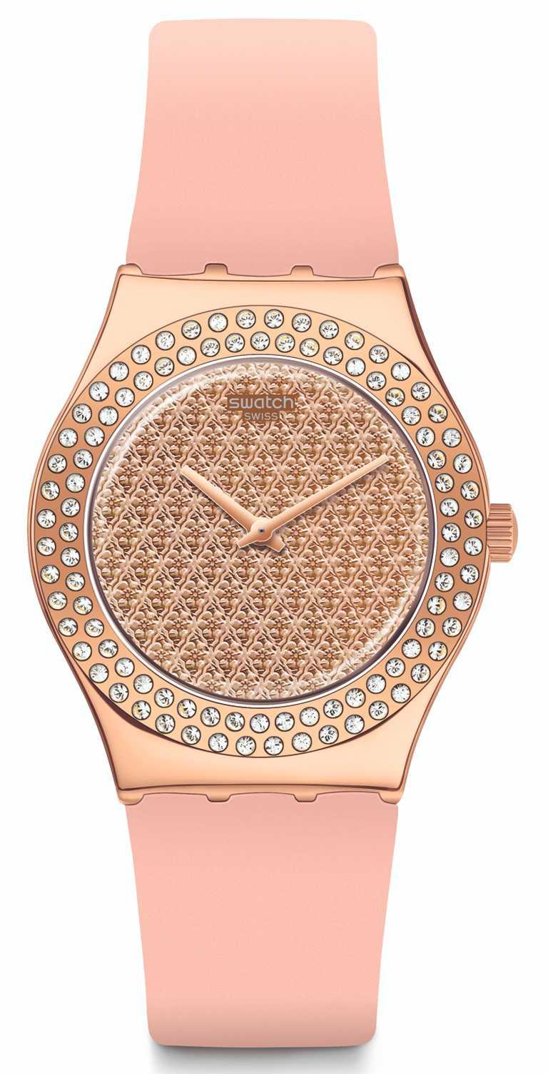 SWATCH「Pink Confusion」粉鑽光芒腕錶╱4,550元。(圖╱SWATCH提供)