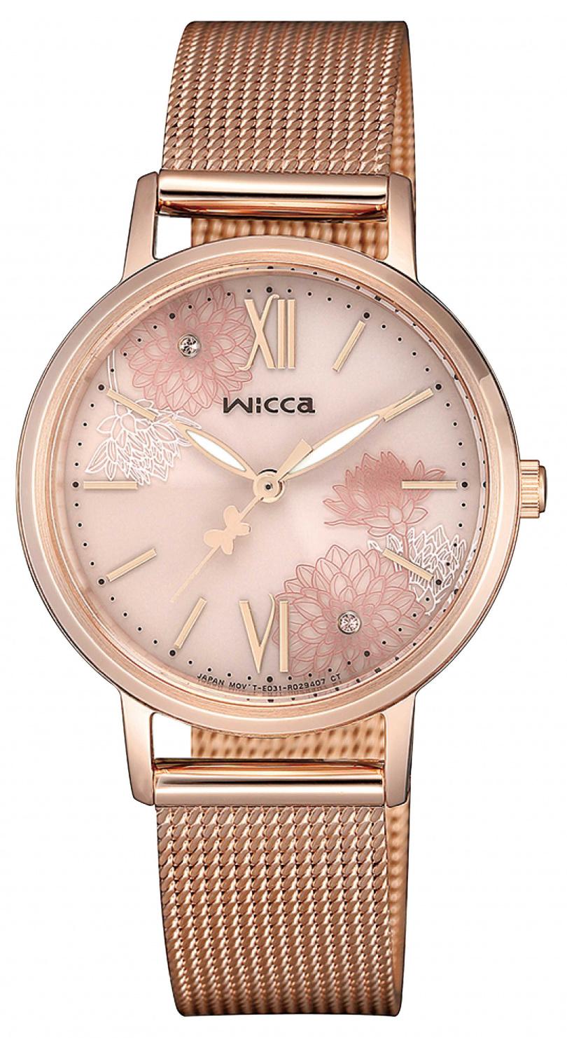 wicca「太陽能腕錶」粉紅金面盤╱7,500元。(圖╱wicca提供)