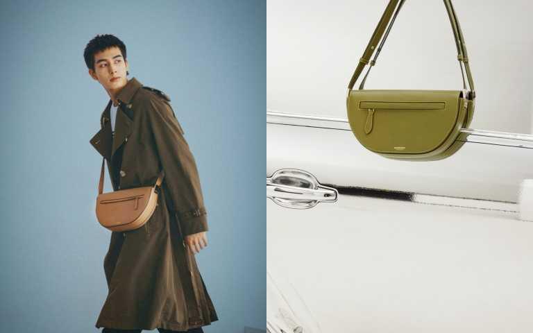 BURBERRY 奶茶色中型皮革Olympia包/75,000元、橄欖色小型皮革Olympia包/65,000元(圖/品牌提供)