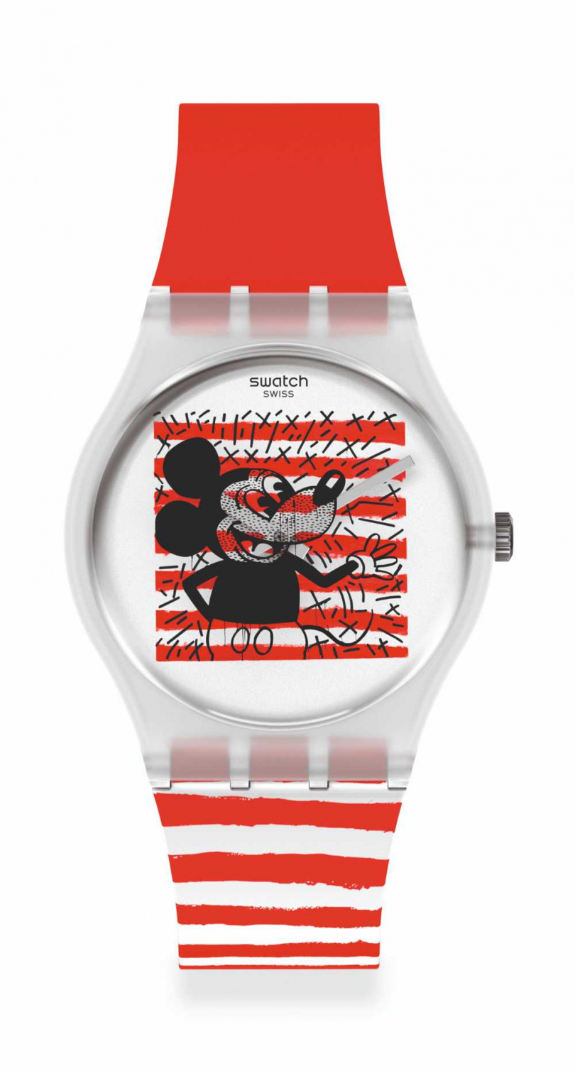 swatch 「條紋米奇」Disney Mickey Mouse X Keith Haring 聯名腕錶 NT$3,150