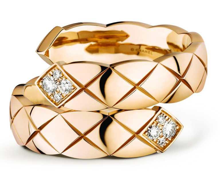 CHANEL「Coco Crush」系列高級珠寶,Toi et Moi戒指(大型款),18K Beige米色金,鑲嵌8顆明亮式切割鑽石╱148,000元。(圖╱CHANEL提供)