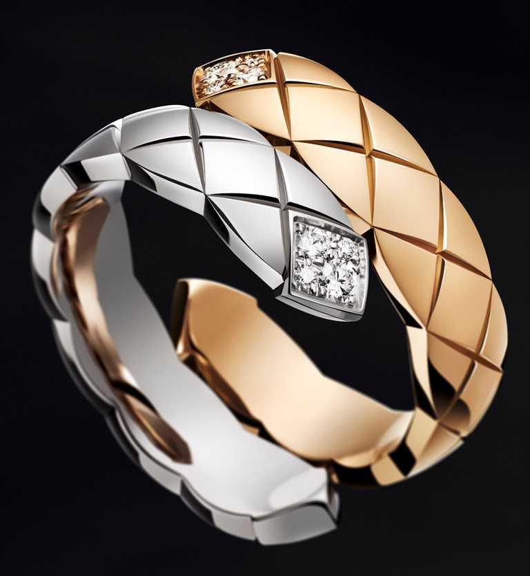 CHANEL「Coco Crush」系列高級珠寶,Toi et Moi戒指(大型款),18K白金、Beige米色金,鑲嵌8顆明亮式切割鑽石╱150,000元。(圖╱CHANEL提供)