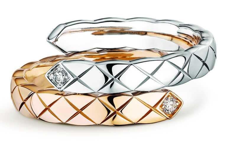 CHANEL「Coco Crush」系列高級珠寶,Toi et Moi戒指(小型款),18K白金、Beige米色金,鑲嵌2顆明亮式切割鑽石╱98,000元。(圖╱CHANEL提供)