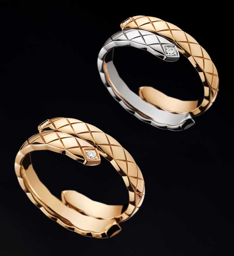 CHANEL「Coco Crush」系列高級珠寶,(左)Toi et Moi戒指(小型款),18K Beige米色金,鑲嵌2顆明亮式切割鑽石╱148,000元;(右)Toi et Moi戒指(小型款),18K白金、Beige米色金,鑲嵌2顆明亮式切割鑽石╱98,000元。(圖╱CHANEL提供)