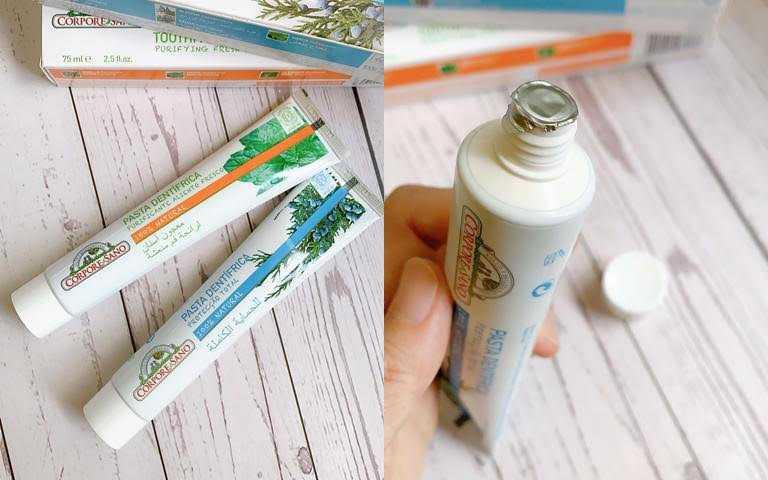 CORPORE SANO沙諾牙膏二入優惠組(百里香/迷迭香)/特價899元  瓶口還有附包膜,衛生度滿分。(圖/吳雅鈴攝影)