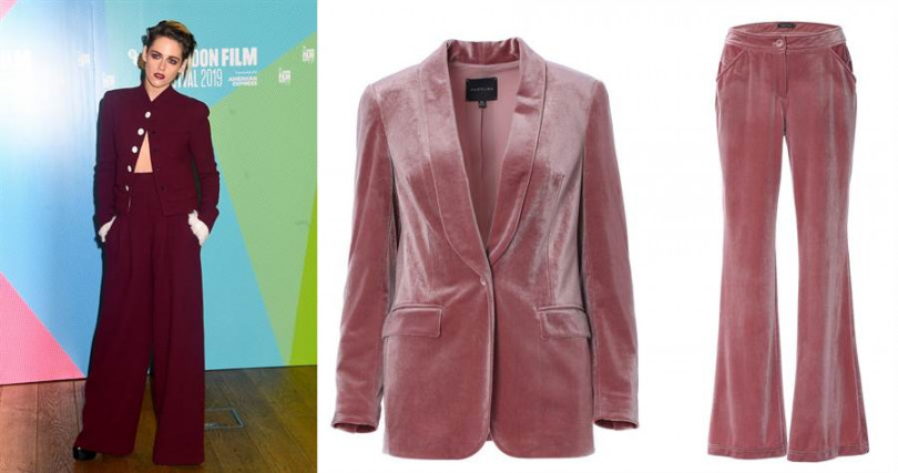 若想穿出她的氣勢,妳可以這樣搭。MARYLING Plush velvet blazer/18,480元、2.MARYLING Plush velvet flared trouser/11,180元(圖/翻攝網路、品牌提供)