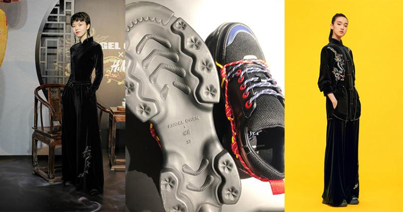 (由左至右)ANGEL CHEN x H&M聯名系列修身絨面旗袍NT3,499,寬版落地長褲NT3,499,綁帶設計老爹鞋NT3,499,繫帶功夫上身NT5,999。(圖/品牌提供,記者拍攝)