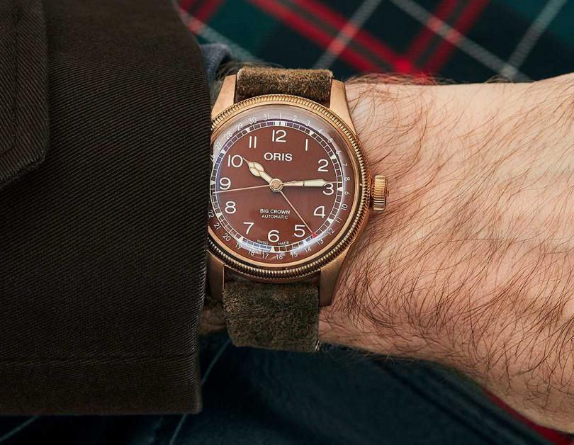 ORIS「BIG CROWN」指針式日期青銅腕錶╱60,000元(圖╱ORIS提供)