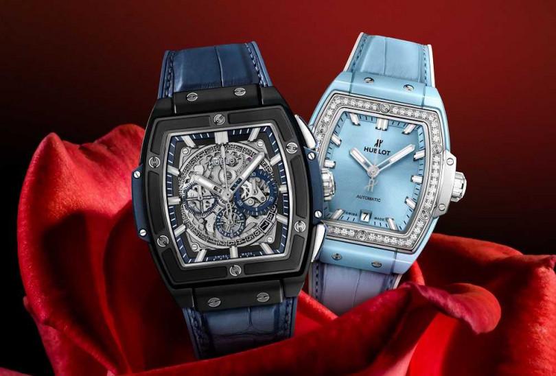 (左)HUBLOT「Sprit of Big Bang」系列,黑陶瓷藍面計時碼錶╱828,000元;(右)HUBLOT「Sprit of Big Bang」系列,粉藍陶瓷鈦金鑽錶╱619,000元(圖╱HUBLOT提供)