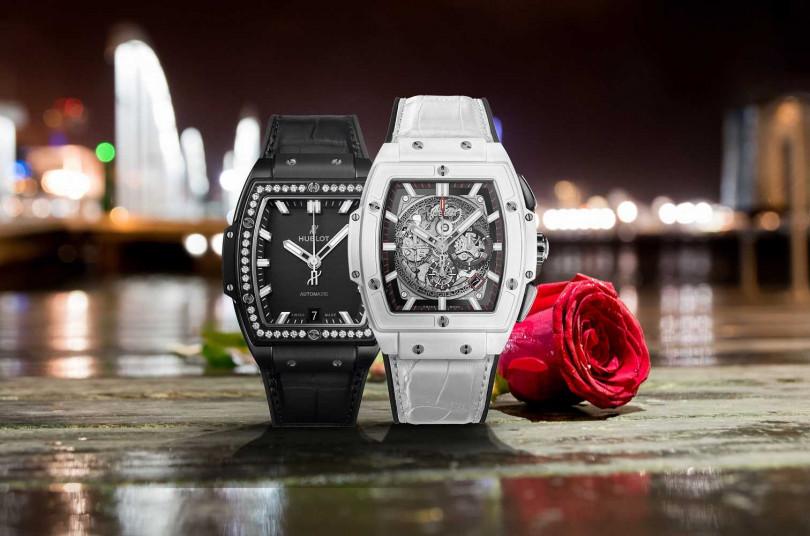 (左)HUBLOT「Sprit of Big Bang」系列,黑陶瓷鑽錶╱619,000元;(右)HUBLOT「Sprit of Big Bang」系列,白陶瓷計時碼錶╱815,000元(圖╱HUBLOT提供)