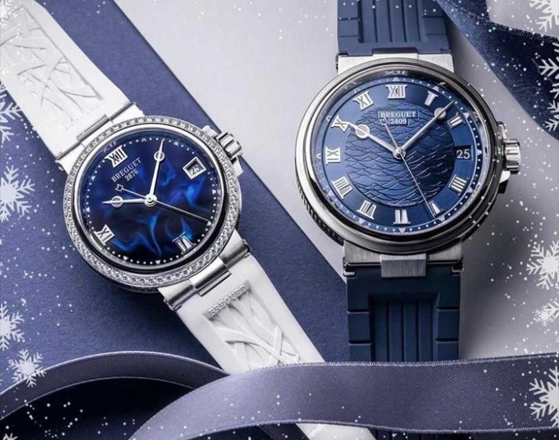(左)BREGUET「Marine Dame 9518」精鋼仕女鑽錶仕女鑽錶╱668,000元;(右)BREGUET航海系列「Marine 5517」白K金大三針腕錶╱922,000元(圖╱BREGUET提供)