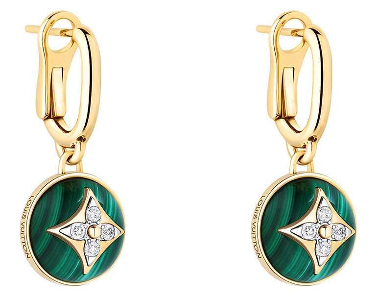 LOUIS VUITTON「B Blossom」系列,黃金孔雀石鑽石耳環╱234,000元。(圖╱LOUIS VUITTON提供)