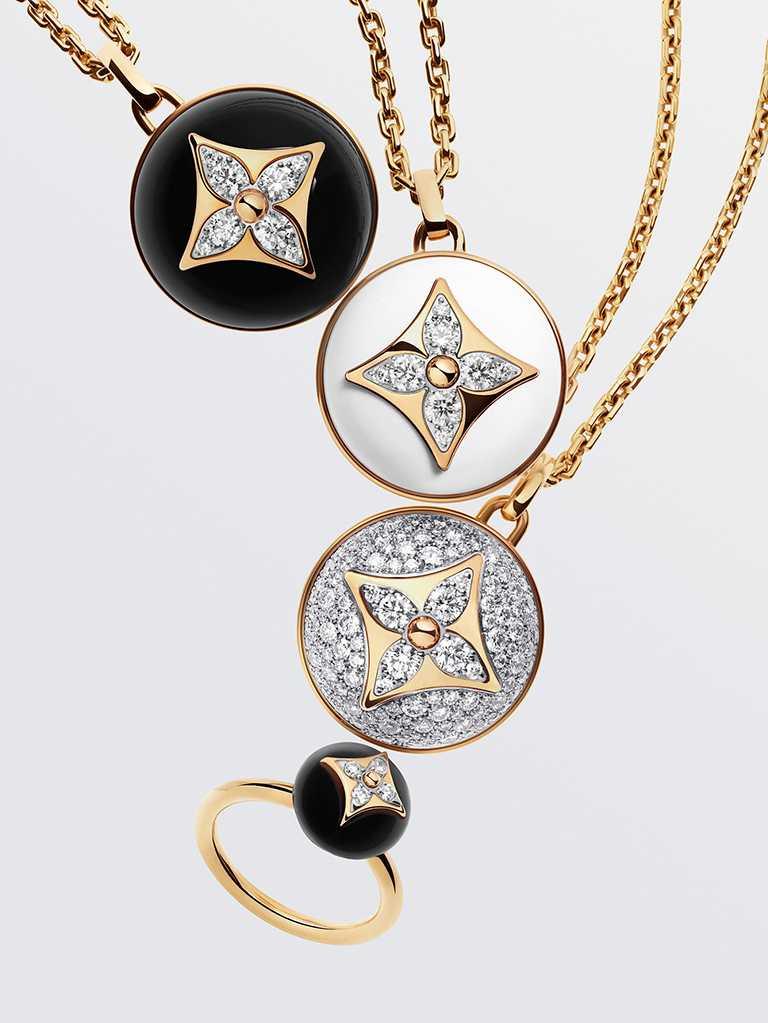 路易威登「B Blossom」系列珠寶,新添白色瑪瑙、粉紅蛋白石、縞瑪瑙、孔雀石等各種珍稀彩色寶石。(圖╱LOUIS VUITTON提供)