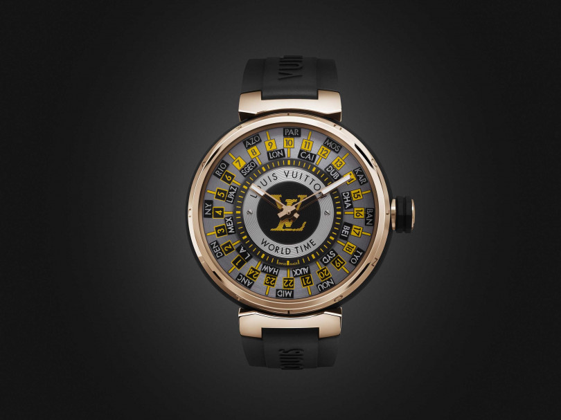LOUIS VUITTON「Tambour World Time Runway」世界時區腕錶╱1,220,000元(圖╱LOUIS VUITTON提供)