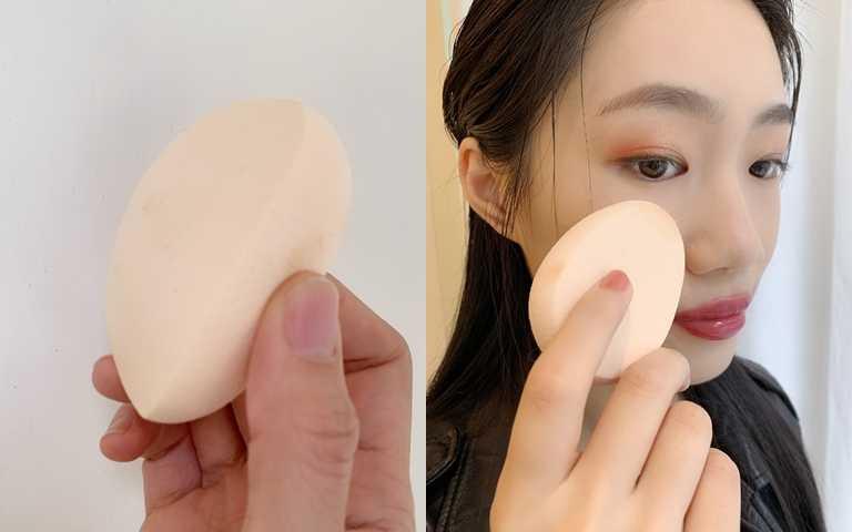 同場加映!這回的粉底還有一個得力小助手-完美角度美妝蛋,就像是滑鼠般的立體弧度,比起一般的海綿更能貼合臉部輪廓,建議務必一起帶,體驗看看什麼叫做底妝神工具。(圖/吳雅鈴攝影)