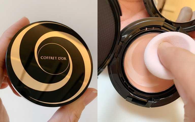 Kanebo東京櫃COFFRET D'OR晶潤玫肌潤底粉膏UV限定組A 10g/1,050元佳麗寶超佛心,新品上市期間還推出期間限定販售的超值組,直接把價值390元的粉膏盒一起送給妳。(圖/吳雅鈴攝影)