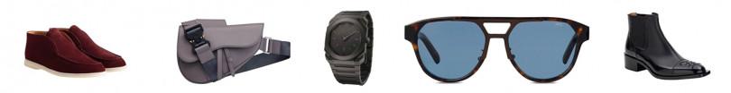 (由左至右)Loro Piana Open Walk 麂皮沙漠靴/29,300元,Dior Men Saddle 灰色粒紋小牛皮馬鞍包/90,000元,BVLGARI Octo Finissimo 自動上鍊陶瓷腕錶/498,200元,Berluti Sparkle 深棕色框太陽眼鏡/15,250元,Fendi Karligaphy 黑色皮鞋/37,500元。