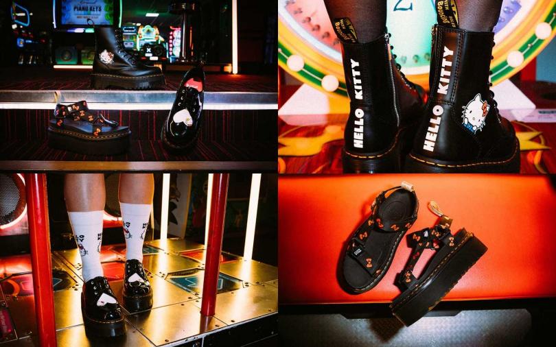 Hello Kitty為Dr. Martens三大經典鞋款詮釋出壞女孩的個性時尚。(圖/Dr. Martens)