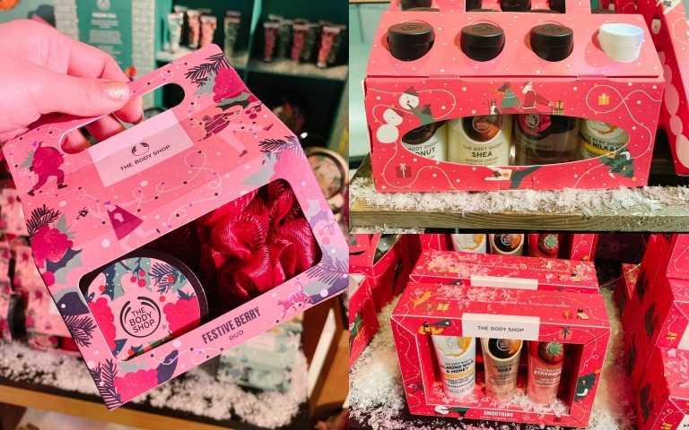 THE BODY SHOP推出各種超人氣禮盒,包括身體乳、沐浴乳、護手霜禮盒!!(圖/黃筱婷攝影)