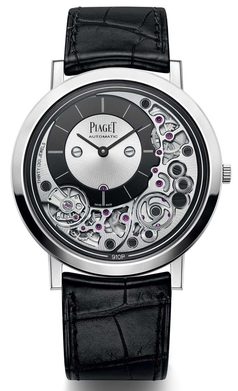 PIAGET「Altiplano」系列「Ultimate Automatic 910P」白金自動上鍊超薄腕錶╱915,000元。(圖╱PIAGET提供)