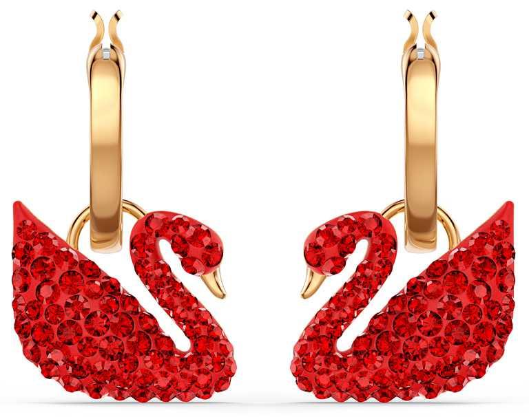 SWAROVSKI「Iconic Swan」系列,紅色水晶穿孔耳環╱4,490元。(圖╱SWAROVSKI提供)