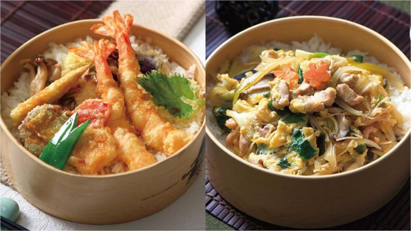 由中山日本廳設計的日式炸蝦飯(左)、日式雞肉親子丼(右)。(圖/老爺酒店)