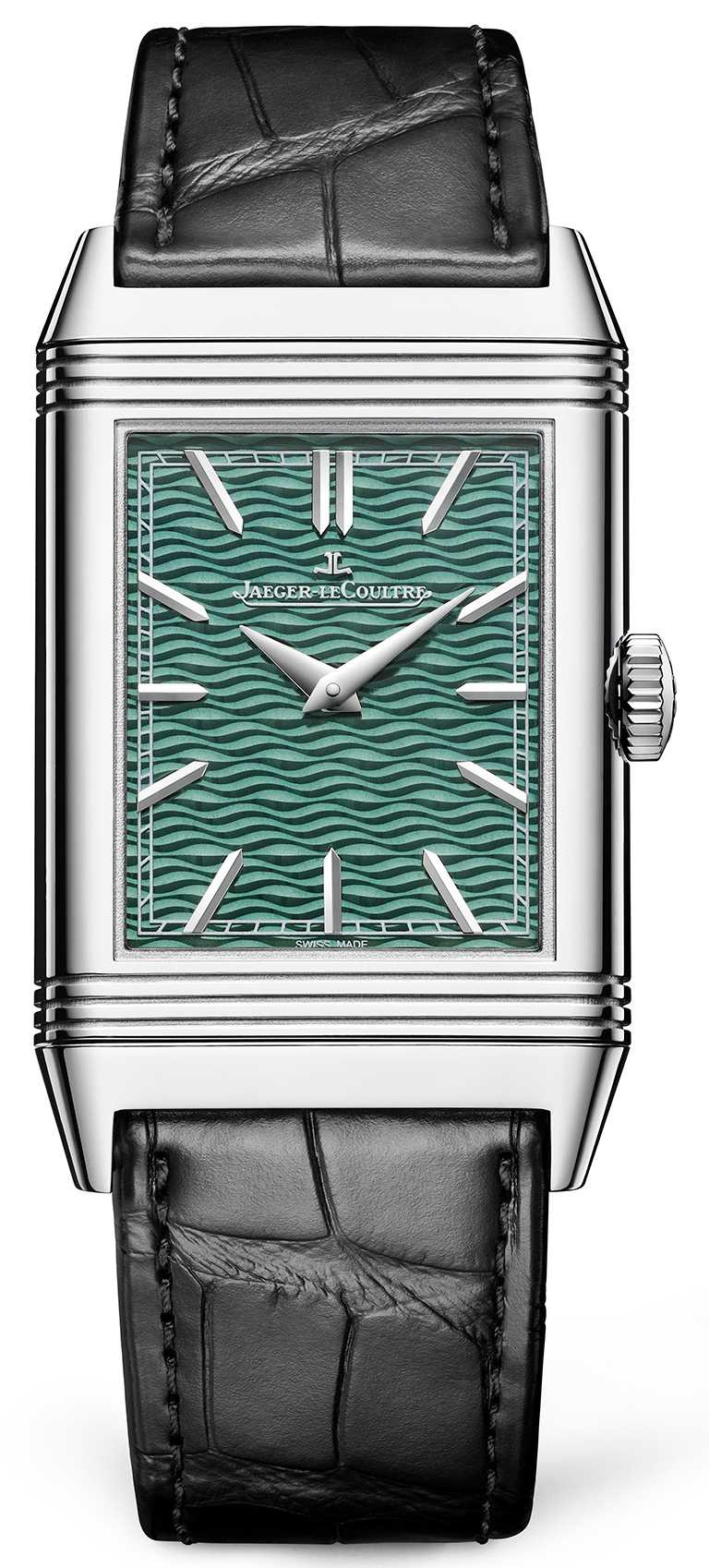JAEGER-LECOULTRE「Reverso Tribute Enamel」翻轉系列琺瑯腕錶,45.5mm,白金錶殼,822型手動上鏈機芯,限量10只╱2,800,000元。(圖╱JAEGER-LECOULTRE提供)